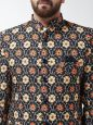 Sojanya (Since 1958) Men's Cotton Blend Rust & Beige Printed Blazer blaze