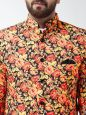 Sojanya (Since 1958) Men's Cotton Blend Orange & Multi Floral Printed Blazer