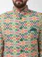 Sojanya (Since 1958) Men's Cotton Blend Green & Multi Printed Blazer