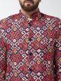 Sojanya (Since 1958) Men's Cotton Blend Red & Navy Blue Abstract Printed Blazer