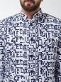 Sojanya (Since 1958) Men's Cotton Blend Navy Blue & Off White Abstract Printed Blazer