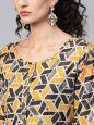 Sojanya (Since 1958), Women's Yellow Printed Kurta With Mustard Trousers