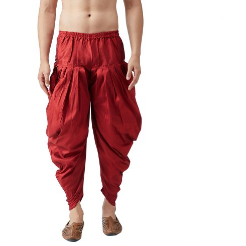 Sojanya (Since 1958), Men's Silk Blend Maroon Harem Pant