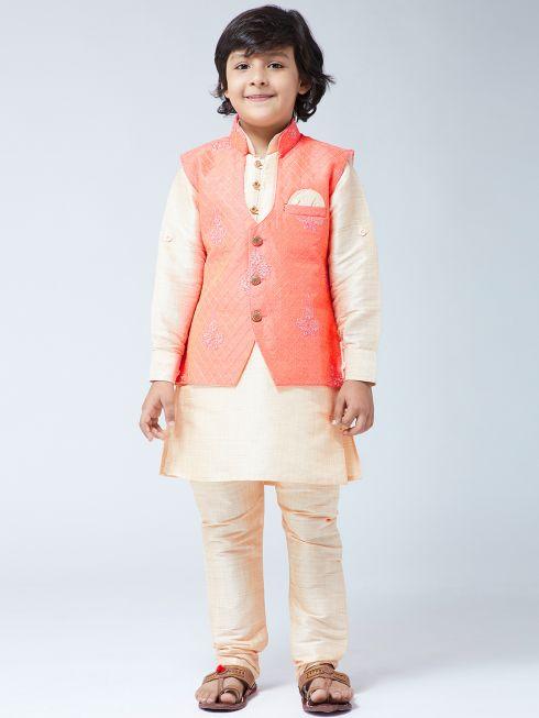 Sojanya (Since 1958), Kids Silk Orange Kurta & Gold Churidar Pyjama Set