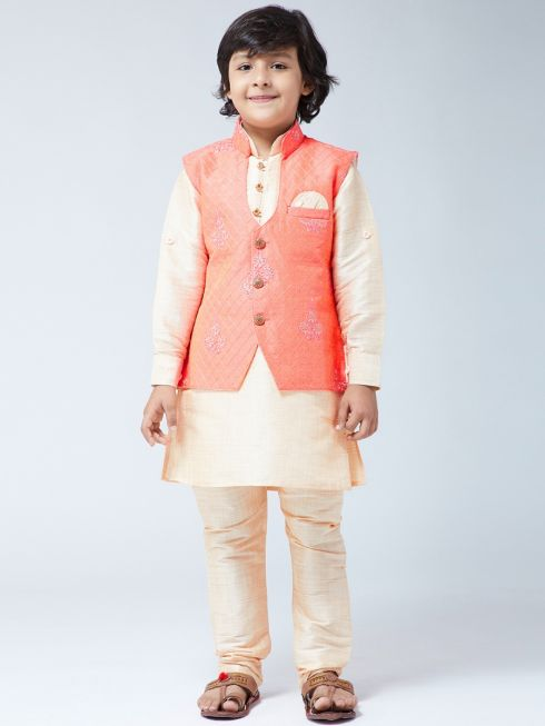 Sojanya (Since 1958) Kids Silk Blend Gold Kurta With Churidaar Pyjama & Orange Jacket Set