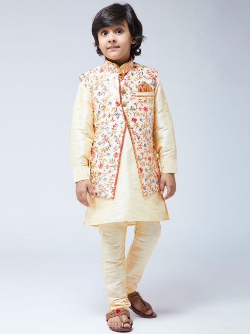 Sojanya (Since 1958) Kids Silk Blend Gold Kurta With Churidaar Pyjama & Multi-color Jacket Set