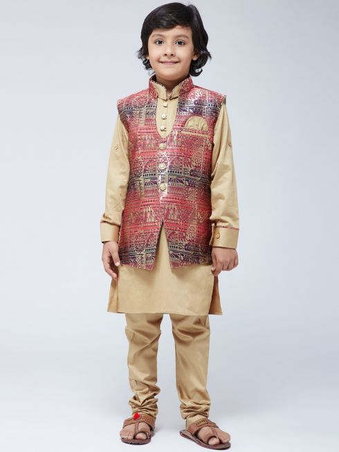 Sojanya (Since 1958) Kids Silk Blend Dark Gold Kurta With Churidaar Pyjama & Multi-color Jacket Set