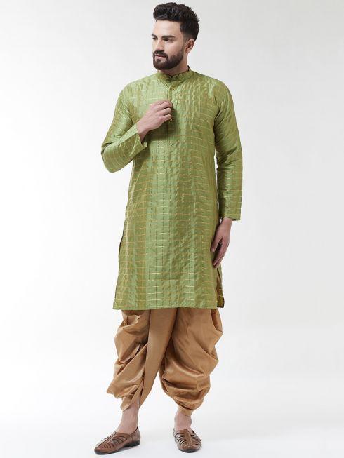 Sojanya (Since 1958), Men's Silk Blend Green Self Design Kurta & Gold Dhoti Set