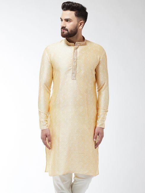 Sojanya (Since 1958), Men's Silk Blend Gold Self Design ONLY Long Kurta