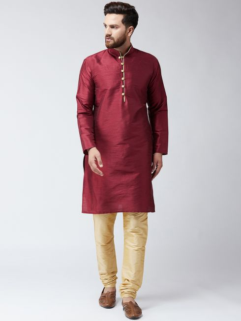 Sojanya (Since 1958) Men's Silk Maroon Kurta and Gold Churidar Pyjama Set