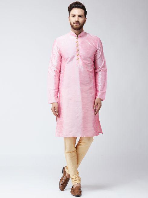 Sojanya (Since 1958) Men's Silk Pink Kurta & Gold Churidar Pyjama Set