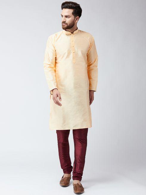 Sojanya (Since 1958) Men's Silk Gold Kurta & Maroon Churidar Pyjama Set