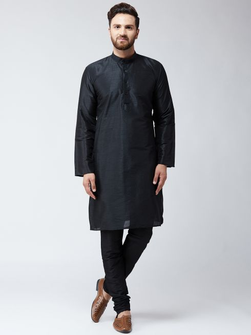 Sojanya (Since 1958) Men's Silk Black Kurta With Churidar Pyjama Set