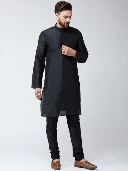Sojanya (Since 1958) Men's Silk Black Only Long Kurta