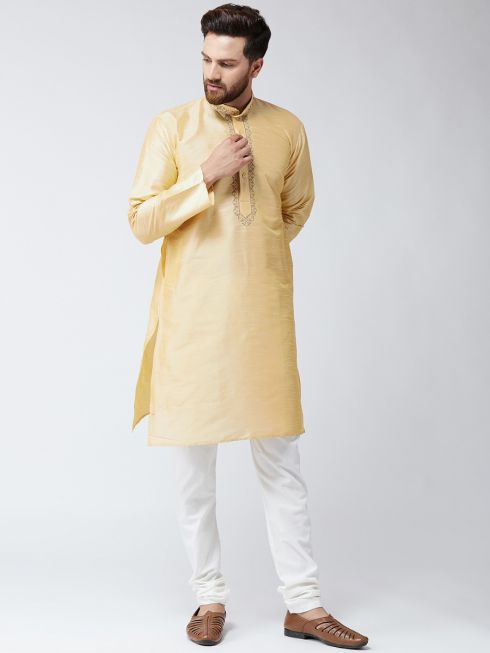 Sojanya (Since 1958) Men's Silk Gold Only Long Kurta