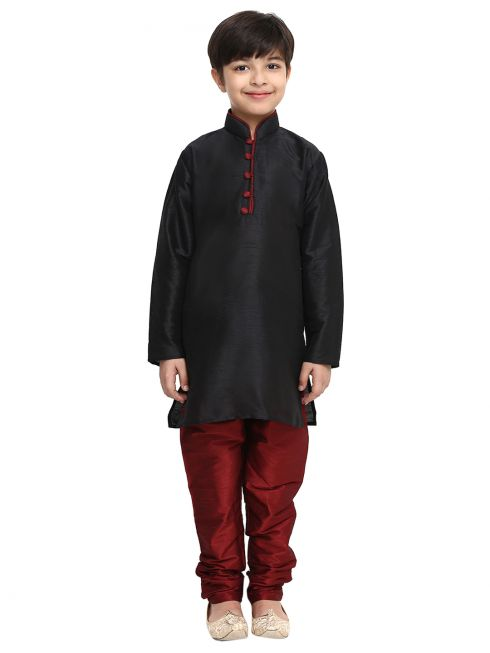 Sojanya (Since 1958), Black, Dupion Silk Blend Kurta Churidaar Set
