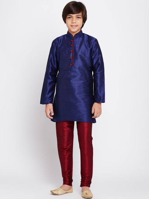 Sojanya (Since 1958), Royal Blue, Dupion Silk Blend Kurta Churidaar Set