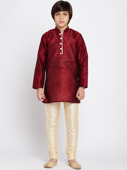 Sojanya (Since 1958), Maroon, Dupion Silk Blend Kurta Churidaar Set