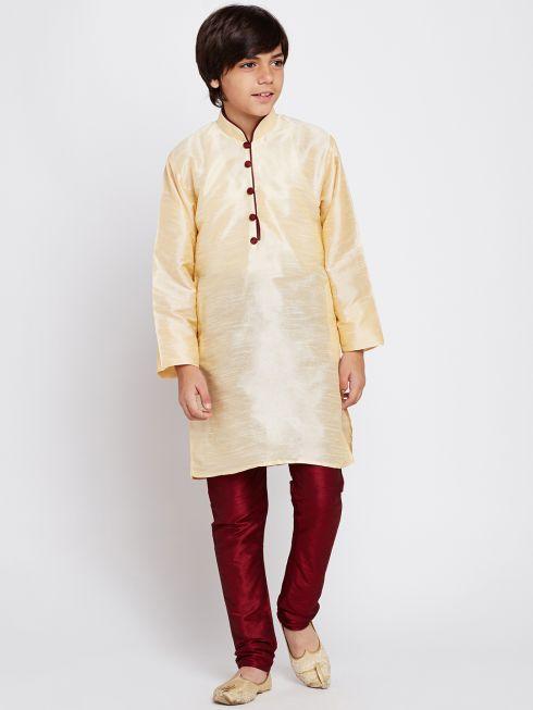 Sojanya (Since 1958), Golden, Dupion Silk Blend Kurta Churidaar Set