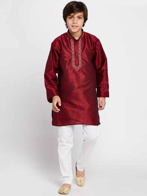 Sojanya (Since 1958), Maroon, Designer Banarsi Dupion Silk Blend Kurta and Churidaar Pyjama Set