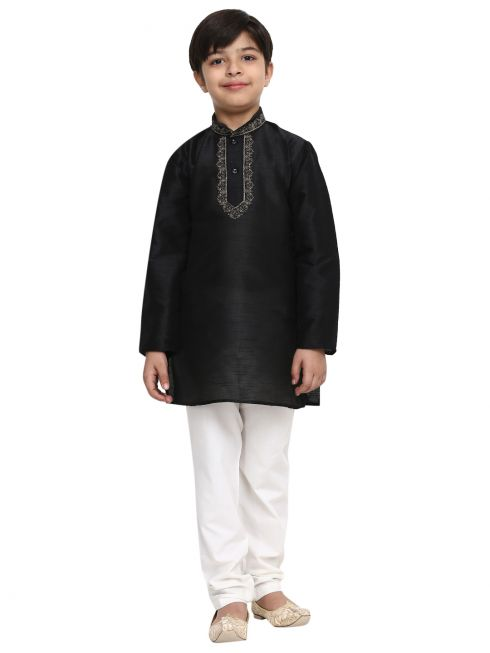 Sojanya (Since 1958), Black, Designer Banarsi Dupion Silk Blend Kurta Churidaar Set