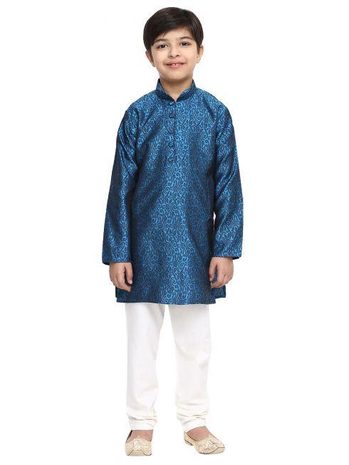Sojanya (Since 1958), Royal Blue, Men's Silk Kurta & Churidaar Pyjama