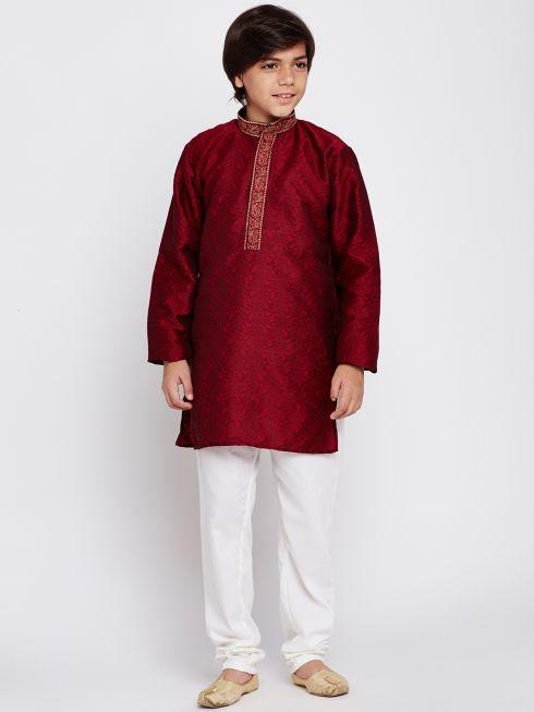 Sojanya (Since 1958), Maroon, Designer Kurta with embroidery on neck & Churidaar Pyjama, Jacquard Silk