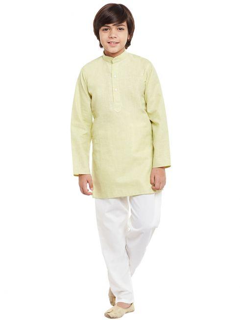 Sojanya (Since 1958), Limegreen, Cotton Linen Kurta Pyjama Set
