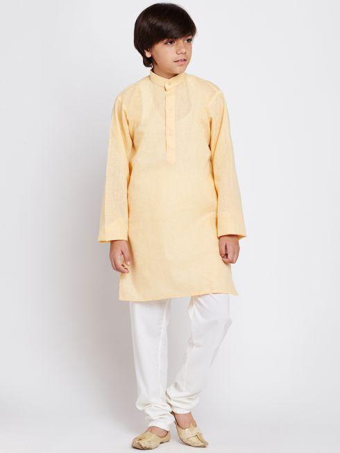Sojanya (Since 1958), Yellow, Cotton Linen Kurta Pyjama Set
