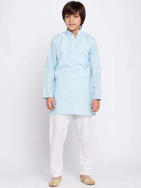 Sojanya (Since 1958), Sky Blue, Cotton Linen Kurta Pyjama Set