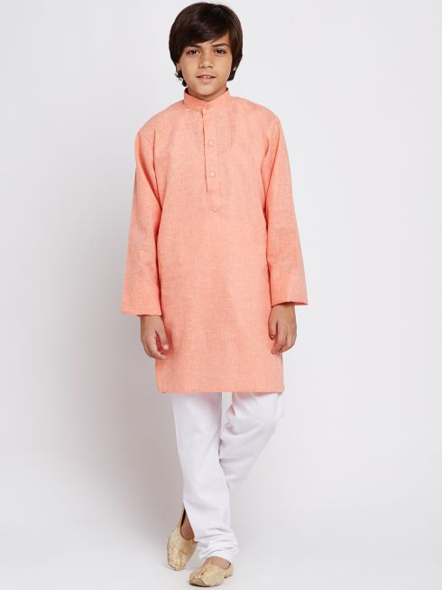 Sojanya (Since 1958), Orange, Cotton Linen Kurta Pyjama Set