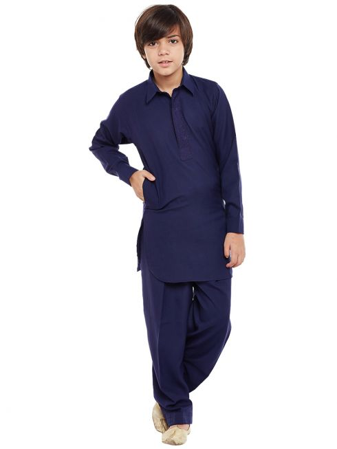 Sojanya (Since 1958), Royal Blue, Cotton Blend Pathani Kurta Salwar