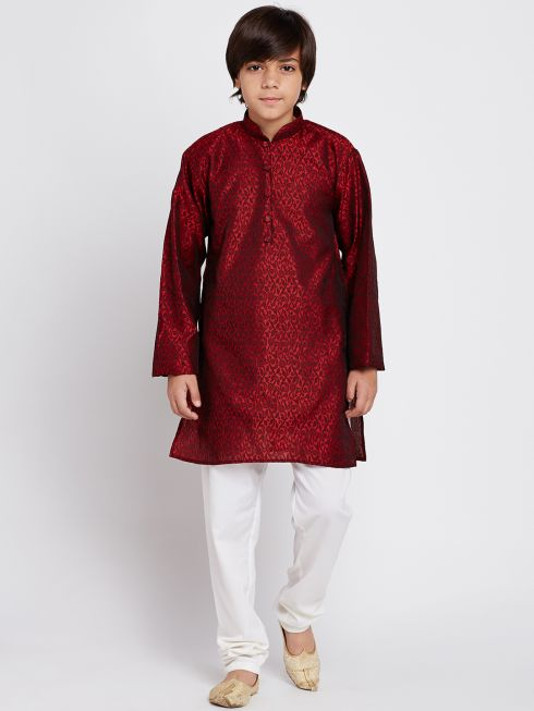 Sojanya (Since 1958), Maroon Self Design Kurta and Churidaar Set