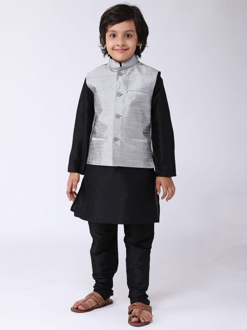 Sojanya (Since 1958), Kids Silk Blend Grey ONLY Nehrujacket