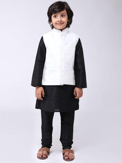 Sojanya (Since 1958), Kids Silk Blend Cream ONLY Nehrujacket