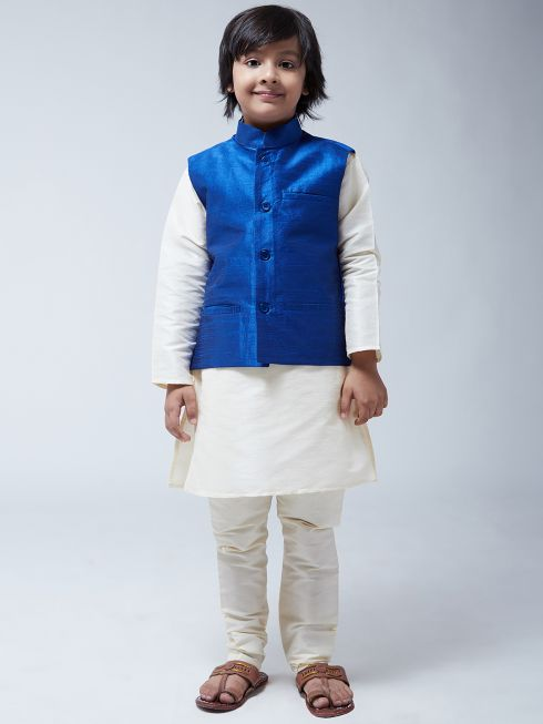 Sojanya (Since 1958), Kids Silk Blend Royal Blue ONLY Nehrujacket