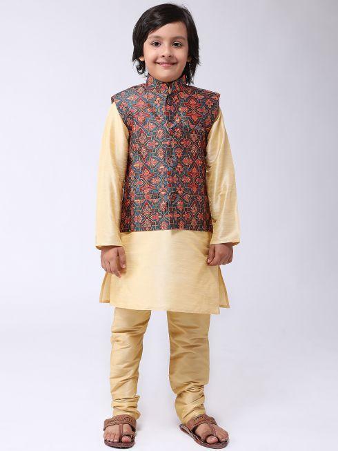 Sojanya (Since 1958), Kids Silk Blend Green Printed ONLY Nehrujacket
