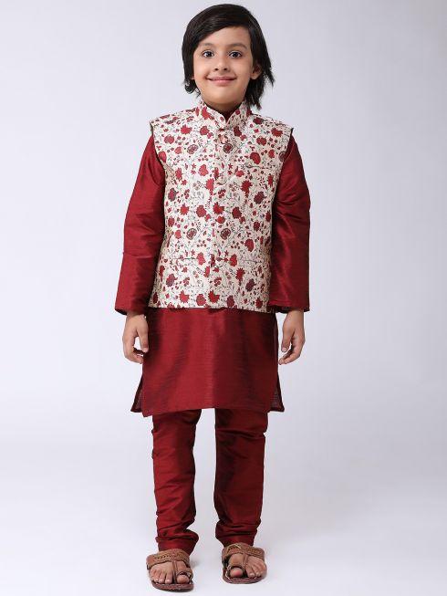 Sojanya (Since 1958), Kids Silk Blend Gold Printed ONLY Nehrujacket