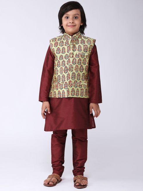 Sojanya (Since 1958), Kids Silk Blend Lime Green Printed ONLY Nehrujacket