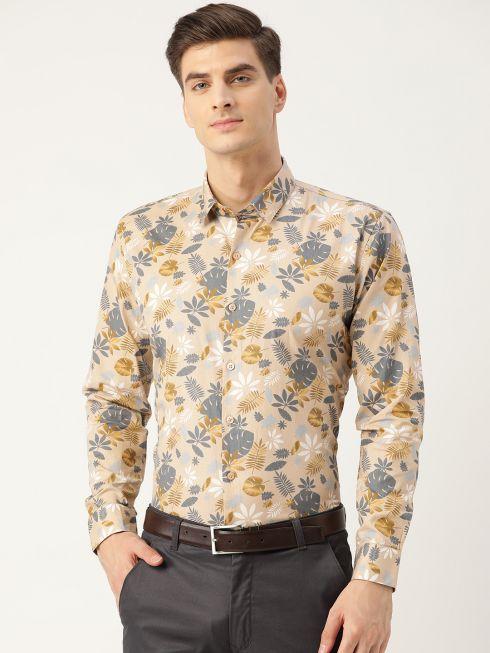 Sojanya (Since 1958), Mens Cotton Fawn & Multi Printed Formal Shirt