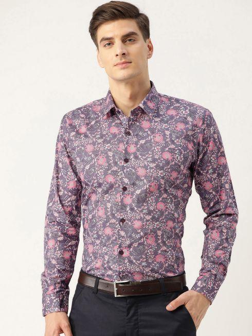 Sojanya (Since 1958), Mens Cotton Taupe & Pink Printed Formal Shirt