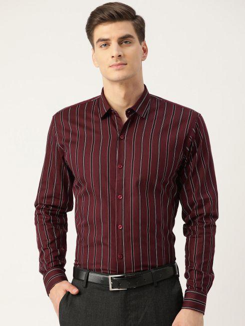 Sojanya (Since 1958), Mens Cotton Maroon & Black Stripe Formal Shirt