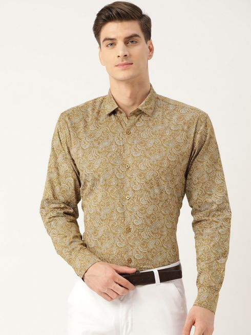 Sojanya (Since 1958), Mens Cotton Metallic Gold & White Printed Formal Shirt