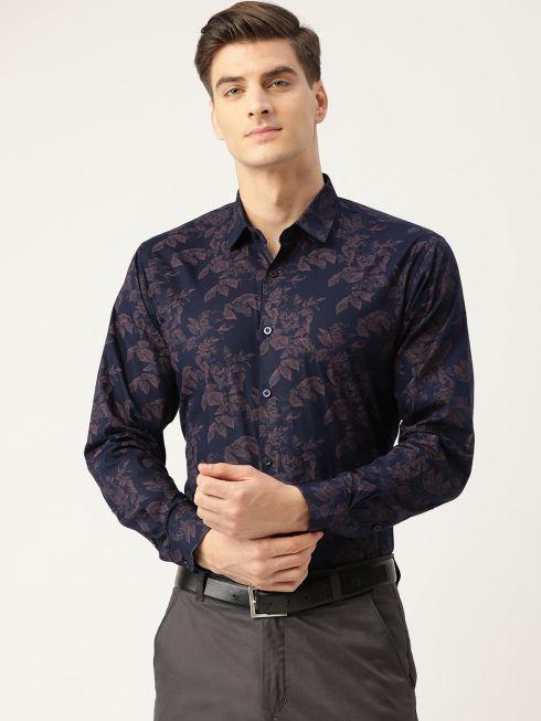 Sojanya (Since 1958), Mens Cotton Navy Blue & Peach Printed Formal Shirt