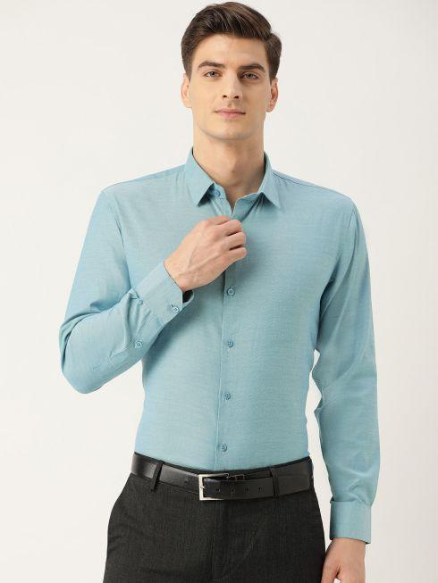 Sojanya (Since 1958), Men's Cotton Teal Blue Self Design Classic Formal Shirt