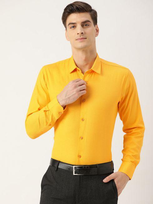 Sojanya (Since 1958), Men's Cotton Dark Yellow Self Design Classic Formal Shirt