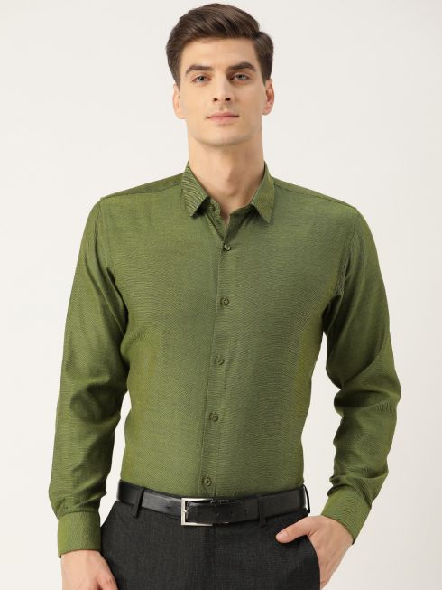 Sojanya (Since 1958), Men's Cotton Moss Green Self Design Classic Formal Shirt