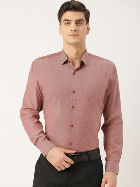 Sojanya (Since 1958), Men's Cotton Mauve Self Design Classic Formal Shirt
