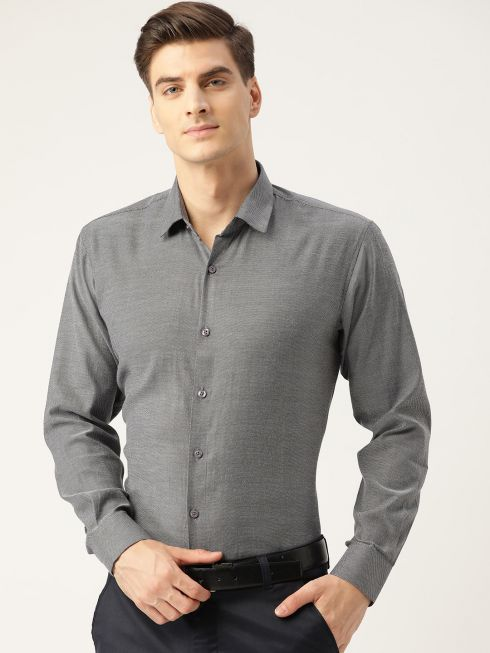 Sojanya (Since 1958), Men's Cotton Charcoal Grey Self Design Classic Formal Shirt