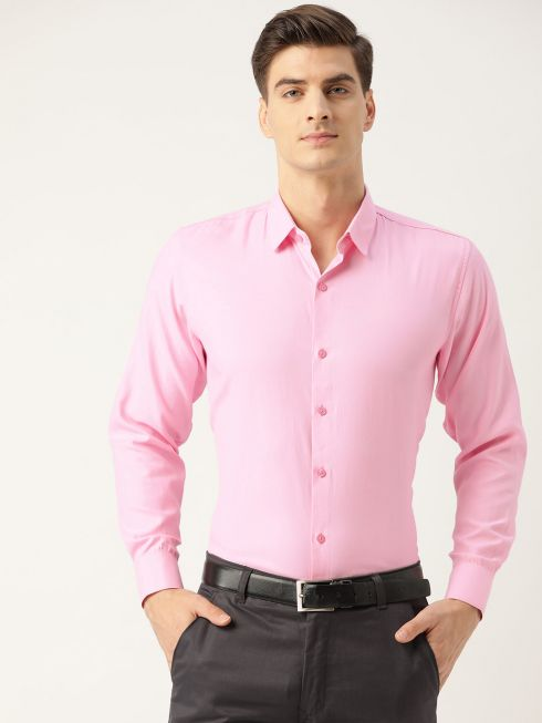 Sojanya (Since 1958), Men's Cotton Pink Self Design Classic Formal Shirt